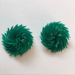 Astroturf Green Grass Vintage Earrings Clip Retro